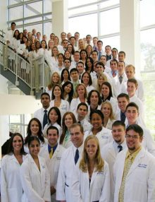 Dental students in white coats